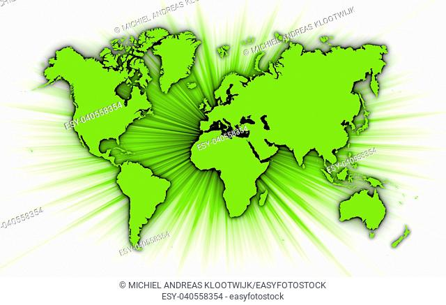 Map of world with starburst on background, green