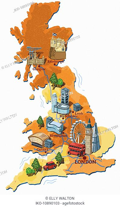 Illustrated map of the UK