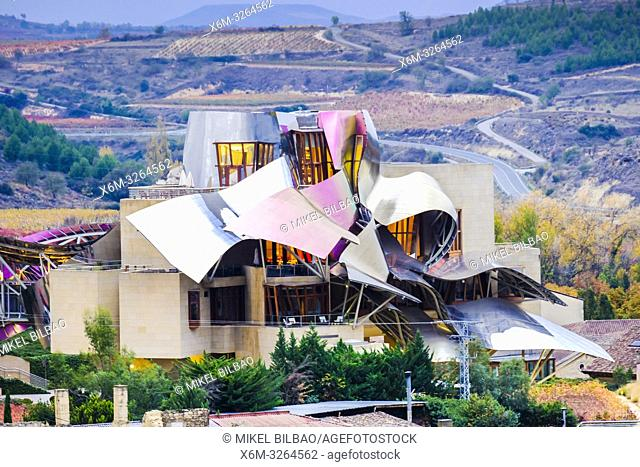 Marques de Riscal vineyards, Hotel and wine cellar. Elciego village. Rioja alavesa county. Alava, Basque Country, Spain, Europe