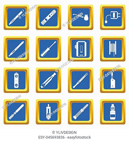 Vaping icons set in blue color isolated illustration for web and any design