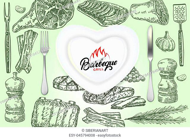 Vintage bbq poster design template. Vector realistic top view plate with knife and fork and ink hand drawn barbeque food meat, spices, herbs