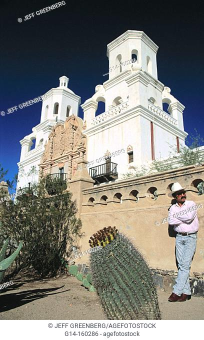 Mission San Xavier del Bac (aka White Dove of the Desert). Tohono O'odham indian reservation. Tucson. USA