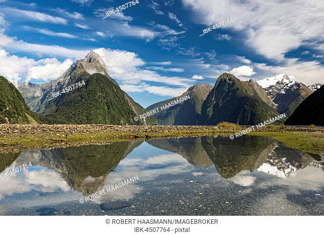 Mitre Peak reflecting in Milford Sound, Fiordland National Park, Southland, New Zealand