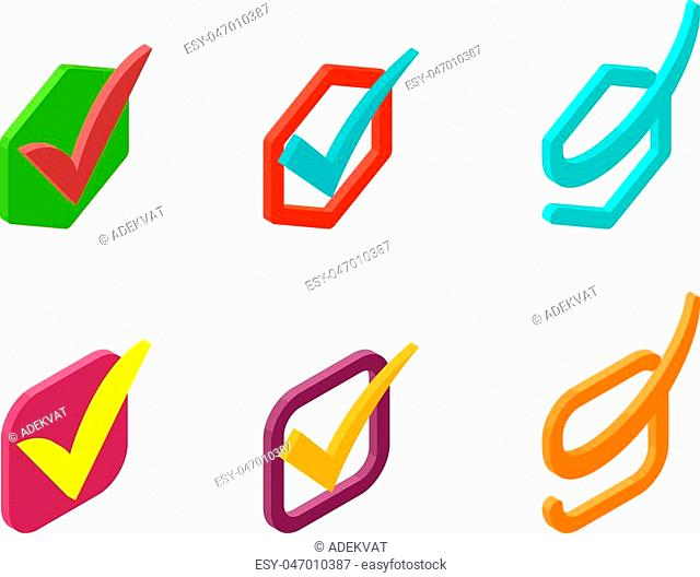 Check box vector icons vector set. Check vote icons vote mark sign choice yes symbol. Correct design check vote icons check mark right agreement voting form