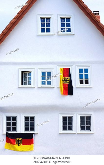 Deutschlandflaggen an einem Haus Germany Flag on a house