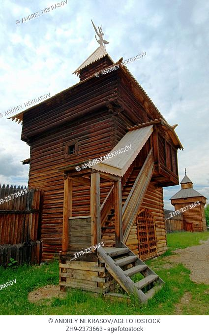 "Spassky passable tower of the Ylym jail, 1667. """"Taltsa's"""" (Talzy) - Irkutsk architectural and ethnographic museum. Baikal, Siberia, Russian Federation"