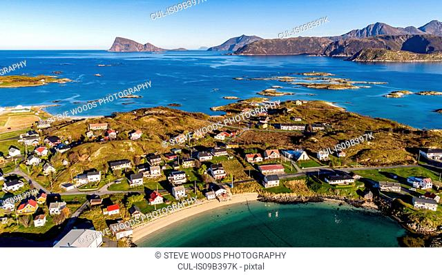 Aerial view of Sommaroy Island in autumn, Arctic Norway