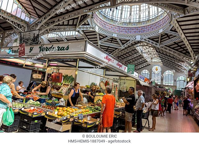 Spain, Valencia, central market designed in 1914 by the Barcelona architects Alexandre Soler i March and Francesc Guardia i Vial