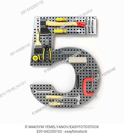 Number 5 five. Alphabet from the tools on the metal pegboard isolated on white. 3d illustration