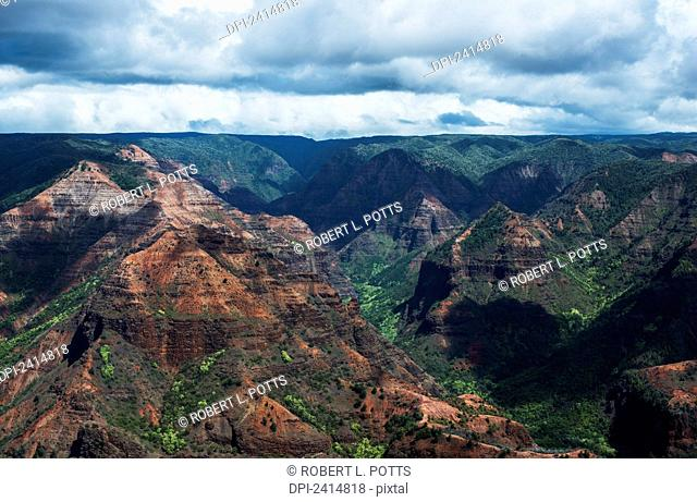 Colourful rock in Waimea Canyon; Kauai, Hawaii, United States of America