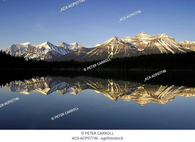 Sunrise on the Bow Range and Herbert Lake along the Icefields Parkway, Banff National Park, Alberta, Canada