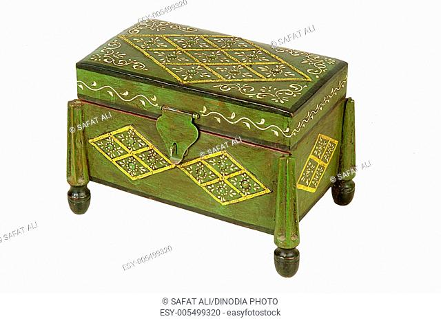Embossing on antique wooden box ; Jodhpur ; Rajasthan ; India
