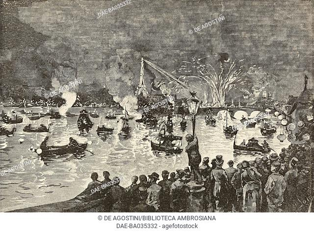 Venetian festival on the Seine in Paris, France, drawing by G Satta, illustration from Il Secolo Illustrato della Domenica, Year II, No 42, July 20, 1890