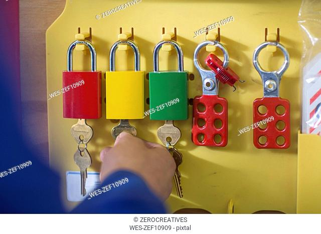 Hand taking lock from lockout station