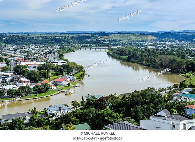 View over Whanganui and the Whanganui River, North Island, New Zealand, Pacific