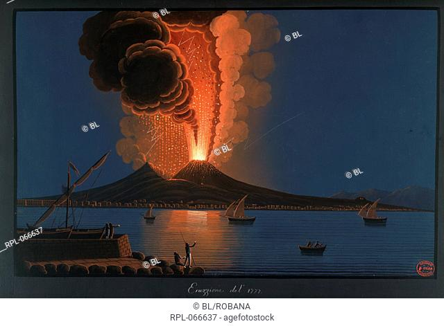 Eruption of Mt. Vesuvius, 1777, View as Mt. Vesuvius erupts over the bay in 1777. Image taken from Campi Phlegraei. Observations on the Volcanos of the Two...