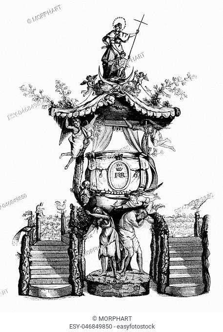 Wooden pulpit in the church of St. Gudule, seventeenth century, vintage engraved illustration. Magasin Pittoresque 1836