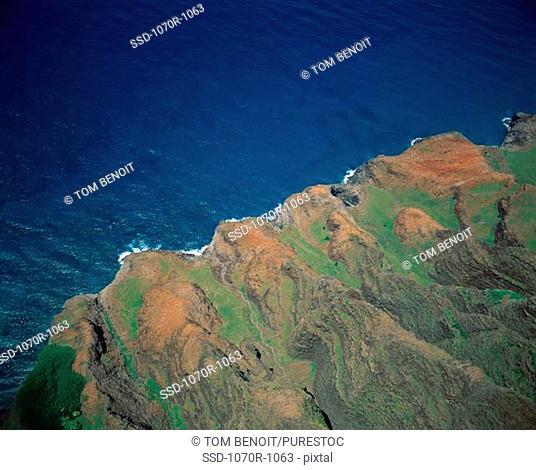 Aerial view of Na Pali Coast State Park, Kauai, Hawaii, USA