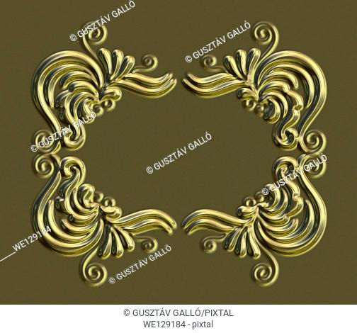 Gold ornate picture frame 3d rendered background