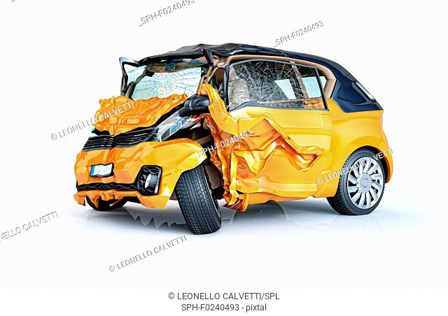 Single car crashed. Yellow city car heavily damaged on the front part. Isolated on white background. Perspective view