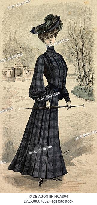 Woman wearing a checkered woolen dress, with pleats, puffed sleeves and a felt hat with feathers, creation by Madame Goery, engraving from La Mode Illustree