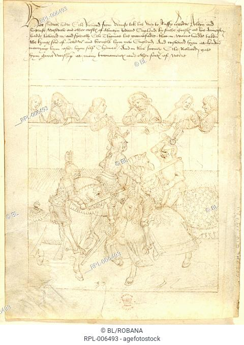 Earl of Warwick jousting Whole folio Pageant XXII. Richard Beauchamp Earl of Warwick jousting in a tournament during his journey from Venice to London c