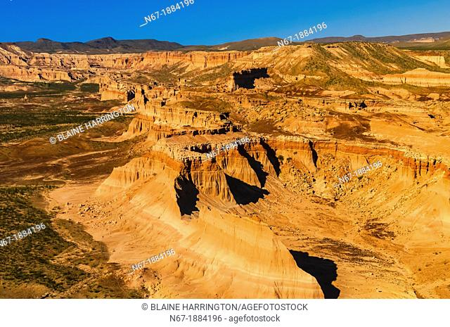 Aerial view of Devil's Playground, a secluded canyon with no access by road, near Big Bend National Park, Texas USA