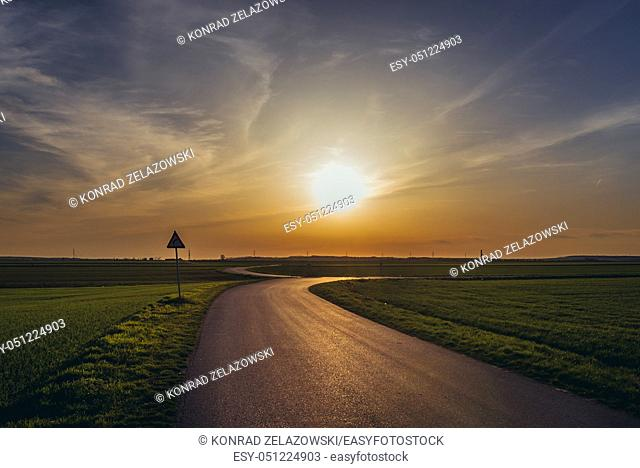 Rural area near Rabensburg town in the district of Mistelbach in the Austrian state of Lower Austria