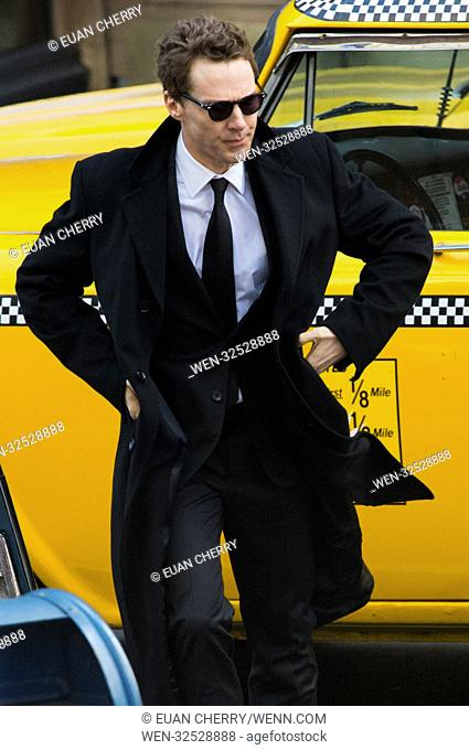 Benedict Cumberbatch filming 'Melrose' in Glasgow, which doubles New York in the series adapted from the Patrick Melrose novels by Edward St. Aubyn