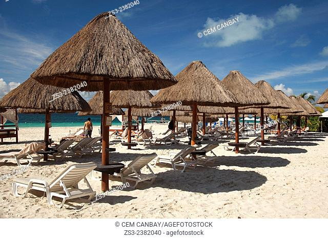 Scene from the beach with umbrellas and sunbeds, Isla Mujeres, Cancun, Quintana Roo, Yucatan Province, Mexico, Central America