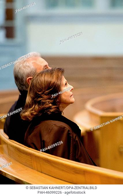 Queen Silvia of Sweden and Saxon Premier Stanislaw Tillich visit the Church of Our Lady in Dresden, Germany, 07 February 2014