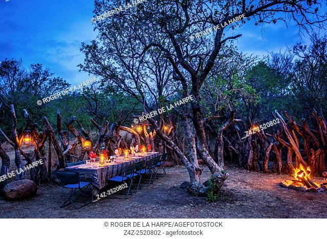 Outside dining at Isibindi Zulu Lodge. Elandskraal. Near Dundee. KwaZulu. South Africa