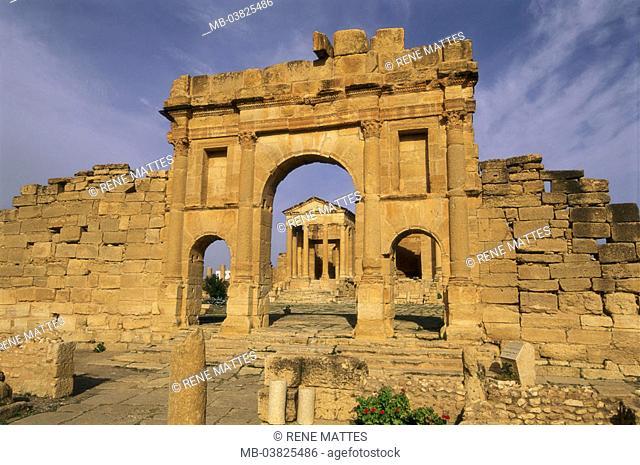 Tunisia, Sbeitla, forum,  Antonius-Pius-Bogen,   North Africa, sight, destination, Roman Sufetula, antique, archaeological place, archaeology, remains, ruins