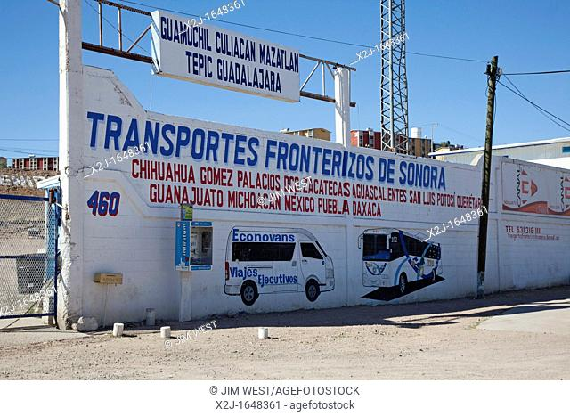 Nogales, Sonora, Mexico - Transportes Fronterizos, a bus station by the US-Mexico border crossing where migrants who have been deported from the United States...