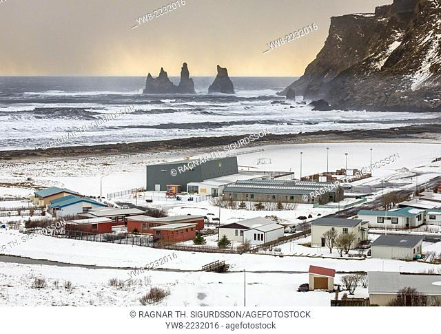 Snowy day in Vik, Reynisdrangar, South Coast, Iceland