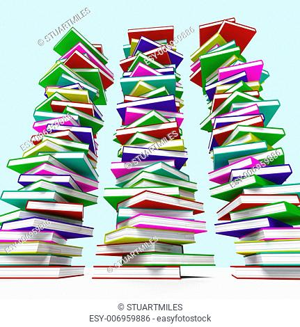 Three Stacks Of Books Represents Learning And Education