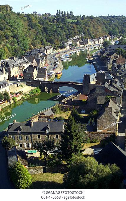 Dinan harbour and Rance river houses. Brittany, France