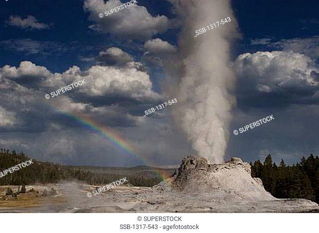 Castle geyser erupting, Upper Geyser Basin, Yellowstone National Park, Wyoming, USA