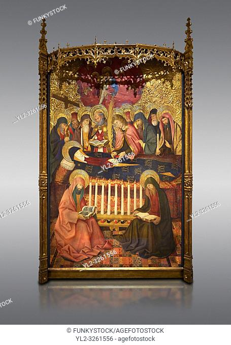 Gothic altarpiece of the Dormition of the Madonna (Dormicio de la Mare de Dieu) by Pere Garcia de Benavarri, circa 1460-1465, tempera and gold leaf on wood