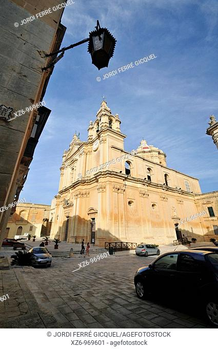 Mdina Cathedral also know as St Paul's Cathedral, Mdina, Malta, Europe, november 2009