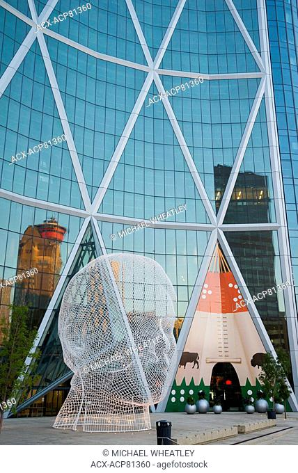 Sculpture titled 'Wonderland' by Jaume Plensa, The Bow Tower, Calgary, Alberta, Canada