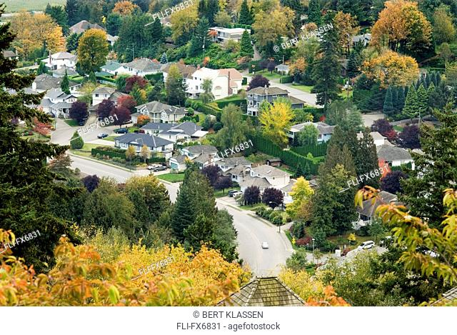 View of a Neighbourhood in Autumn, Abbotsford, British Columbia
