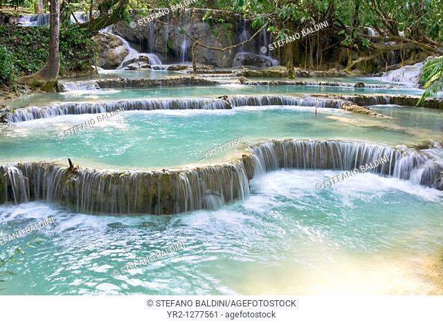 Pool and waterfall in the Tat Kuang Si waterfall system near Luang Prabang in Laos