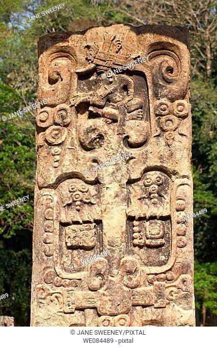 Stela in the Great Plaza, Mayan ruins of Copan, Honduras
