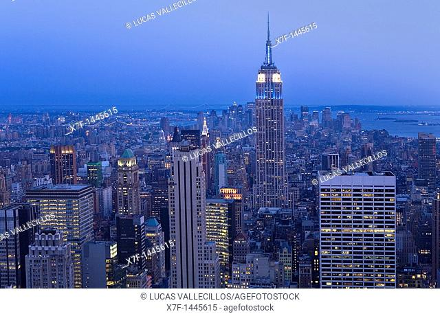 Skyline of Manhattan with Empire state building New York City, USA