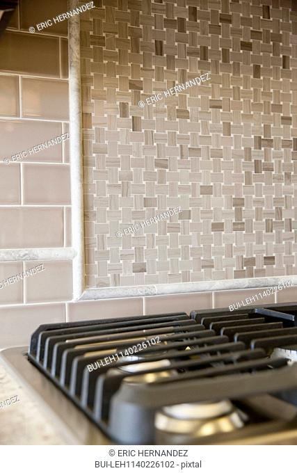 Detail shot of a gas stove in kitchen at home