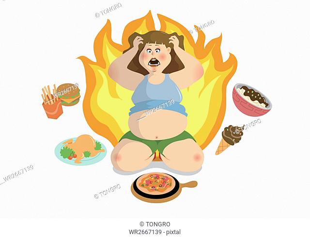Stressful fat woman with sweets
