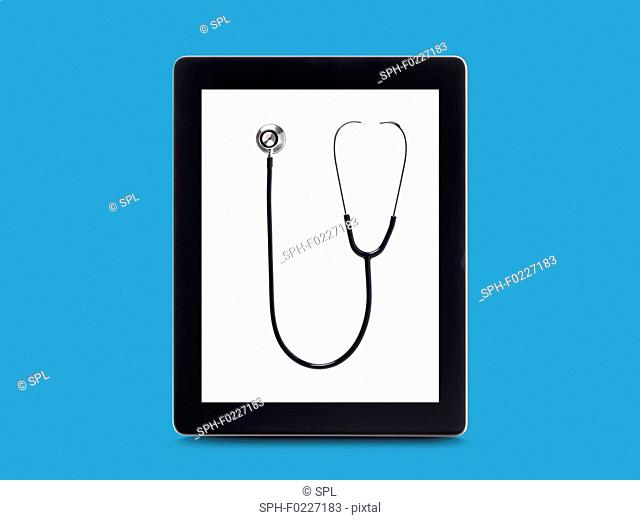Stethoscope on digital tablet screen