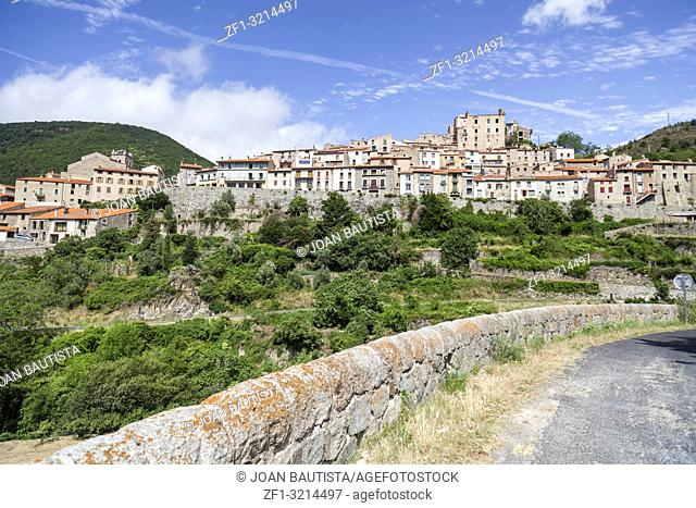 View of Mosset, small and picturesque french village,member of Les Plus Beaux Villages de France (The most beautiful villages of France)