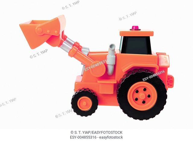 Toy Earthmover on White Background